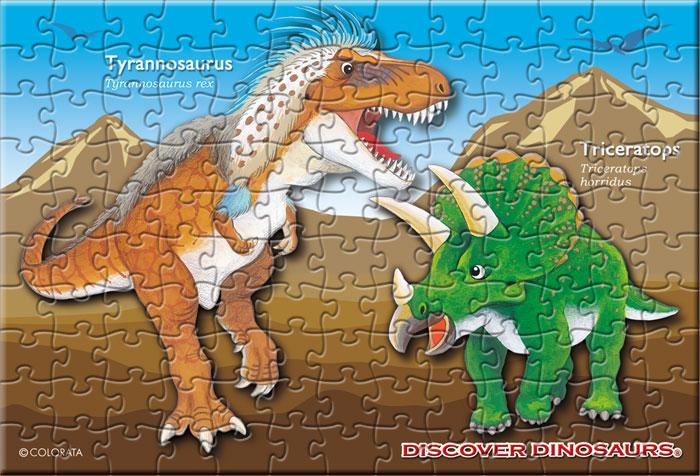 ティラノサウルス&トリケラトプス 130ピース ポストカードサイズ ミュージアム ジグソーパズル