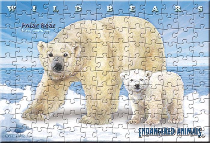 ホッキョクグマ親子 130ピース ポストカードサイズ ミュージアム ジグソーパズル