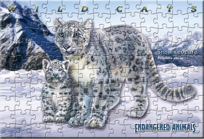 ユキヒョウ親子 130ピース ポストカードサイズ ミュージアム ジグソーパズル