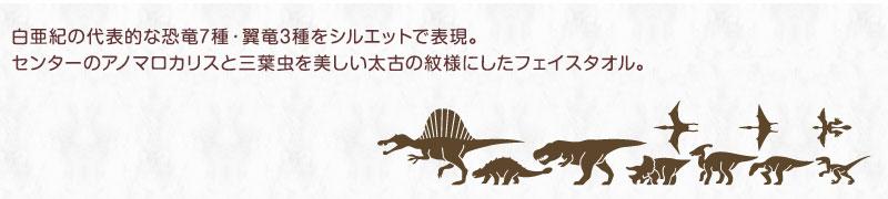 白亜紀の代表的な恐竜7種・翼竜3種をシルエットで表現。センターのアノマロカリスと三葉虫を美しい太古の紋様にしたフェイスタオル