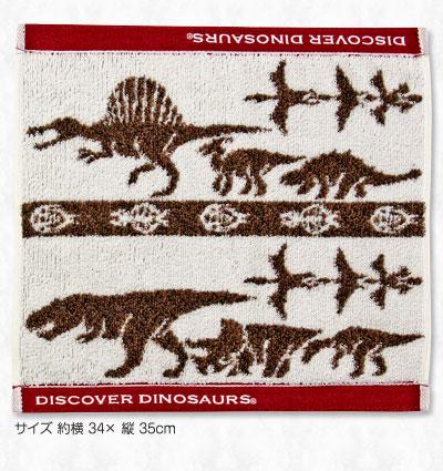 ウォッシュタオル 白亜紀の恐竜・翼竜 ブラウン