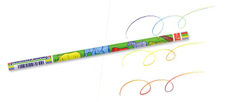 7色カラー鉛筆 絶滅危惧動物
