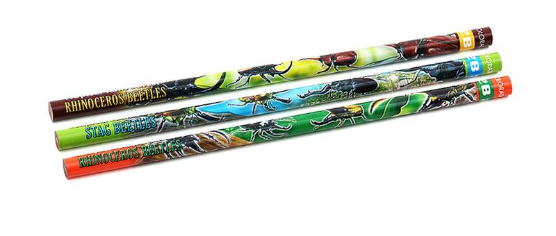 かきかた鉛筆3本セット2B昆虫類 ビートル