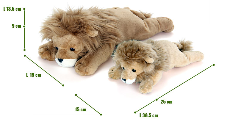 ねそべりシリーズ ライオンぬいぐるみ 2サイズ 比較