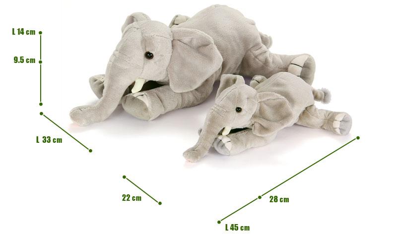 ねそべりシリーズ アフリカゾウぬいぐるみ 2サイズ 比較