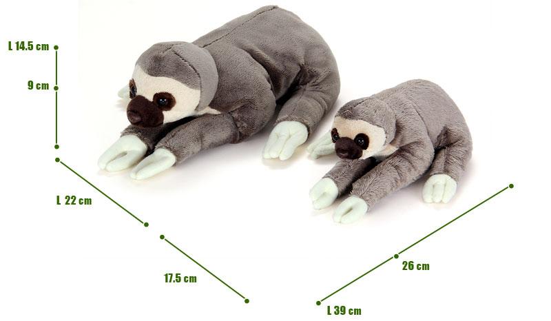 ねそべりシリーズ フタユビナマケモノぬいぐるみ 2サイズ 比較