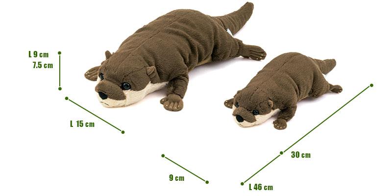 ねそべりシリーズ コツメカワウソ ぬいぐるみ 2サイズ 比較