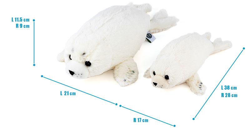 ねそべりシリーズ ゴマフアザラシ ぬいぐるみ 2サイズ 比較
