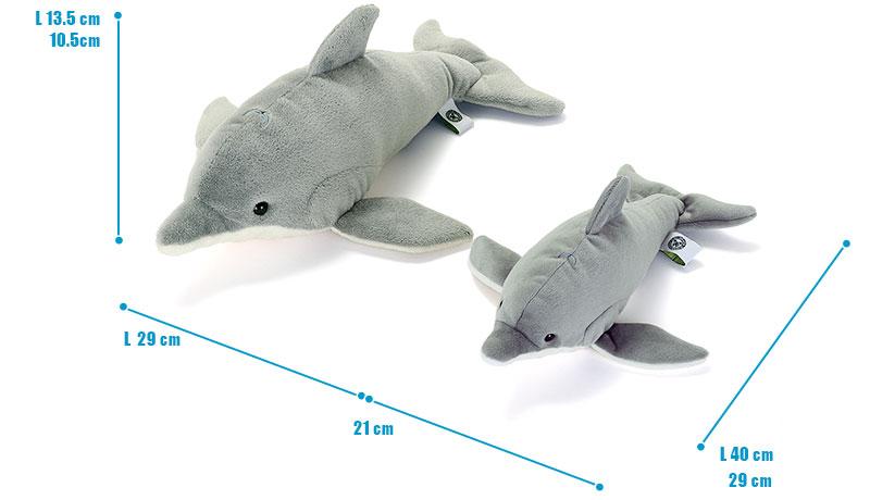 ねそべりシリーズ ハンドウイルカ ぬいぐるみ 2サイズ 比較
