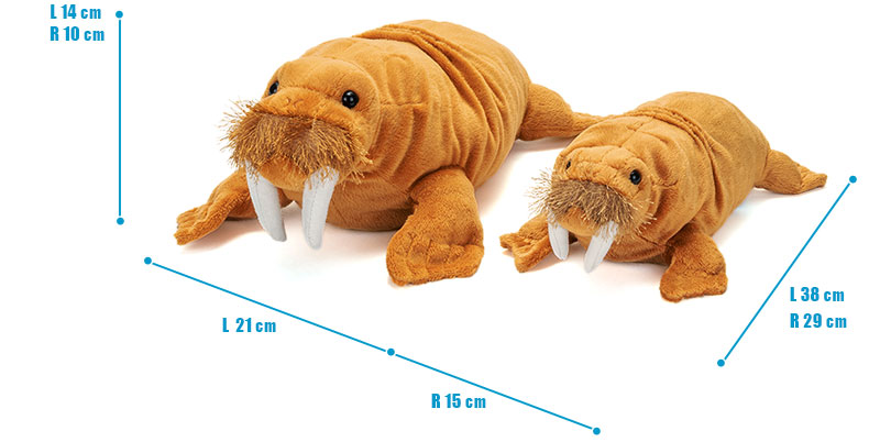 ねそべりシリーズ セイウチ ぬいぐるみ 2サイズ 比較