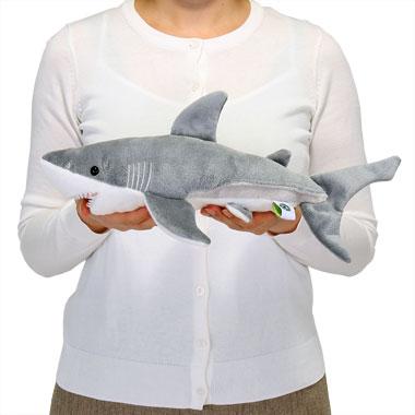 リアル動物ぬいぐるみ ねそべりシリーズ ホホジロザメ M 大きさ