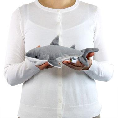 リアル動物ぬいぐるみ ねそべりシリーズ ホホジロザメ S 大きさ
