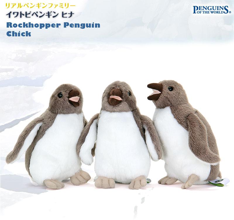 リアル動物 生物 ぬいぐるみ リアルペンギンファミリー イワトビペンギン ヒナ