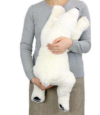リアル動物ぬいぐるみ おやすみシリーズ ホッキョクグマ スリーピング Lサイズ 大きさ