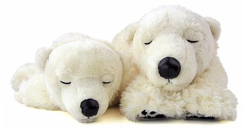 リアル動物ぬいぐるみ おやすみシリーズ ホッキョクグマ スリーピング 親子 正面