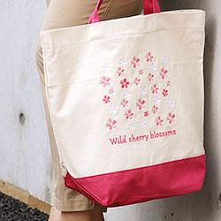 刺繍トートバッグ ボタニカルカラーズ ヤマザクラ