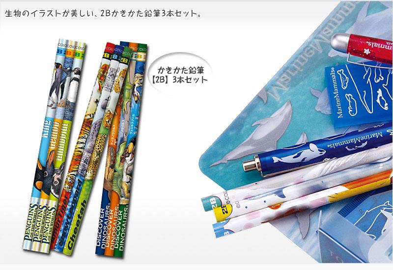 生物のイラストが美しい、2Bのかきかた鉛筆 2B 3本セット