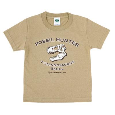 Tシャツ ティラノサウルス頭骨 カーキ 110サイズ