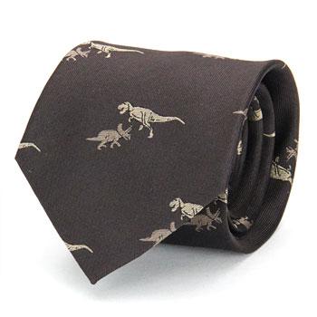 ネクタイ ティラノサウルス&トリケラトプス ダークブラウン
