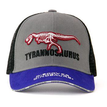 メッシュキャップ ティラノサウルス骨格 グレー&ブルー